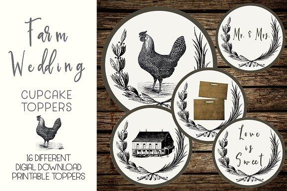 Rustic Farm Wedding Cupcake Toppers