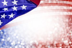 USA flag with bokeh background