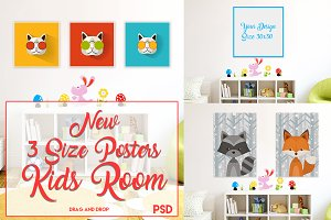 3 Size Posters Mock-up ( Kids Room )