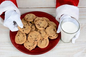 Santa Claus Cookies and Milk
