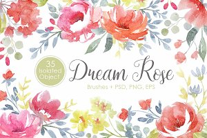 "Watercolor set ""Dream Rose"""