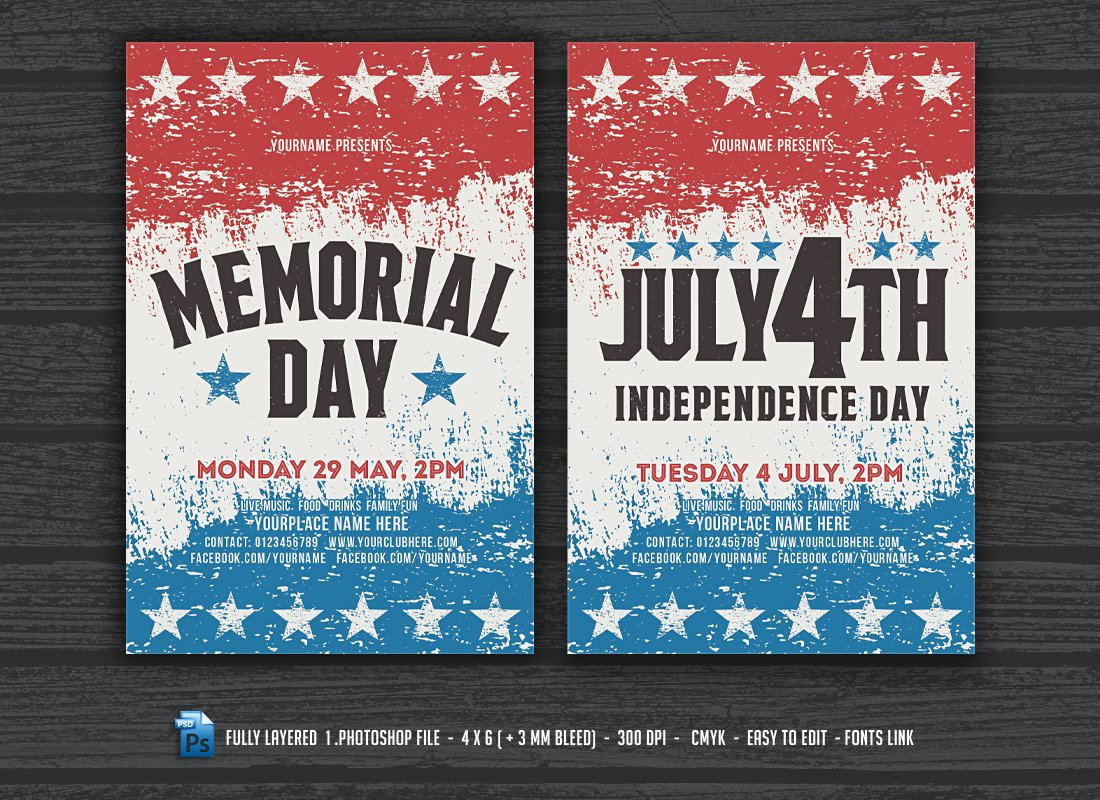 july 4th memorial day flyers flyer templates creative market
