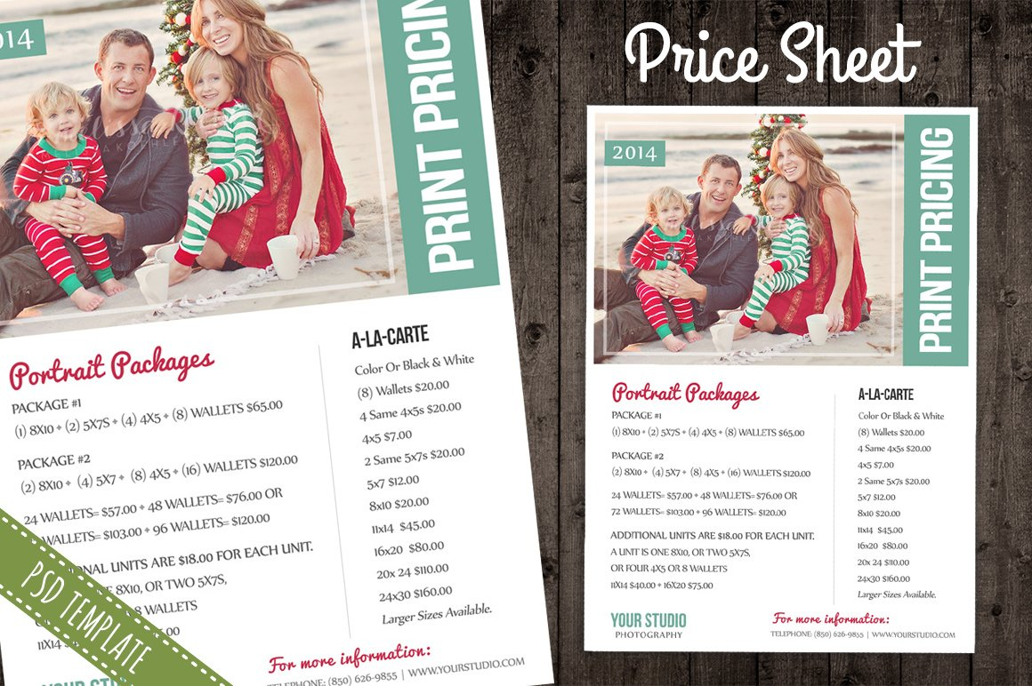 Price Sheet List PSD Template Flyer Templates Creative Market - Free pricing template for photographers