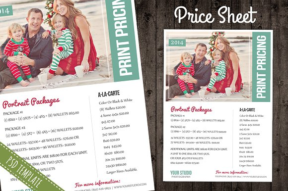 Price Sheet List PSD Template Flyer Templates Creative Market - Pricing flyer template
