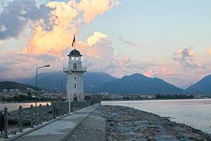 Alanya lighthouse on sunset