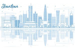 Outline Shenzhen Skyline