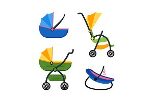 Classic Baby Carriage Set. Vector