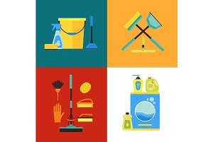 Cleaning Kit Banner Set. Flat Design