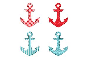 Set of four anchors as retro fabric applique as baby shower elements