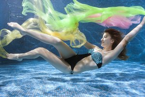 Woman in a swimsuit underwater.