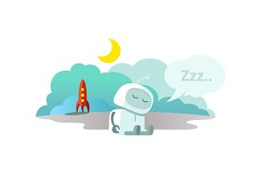 Alien The robot has arrived on rocket and is sleeping. Sleep mode Hibernation sitting. Mtaphor - closed.