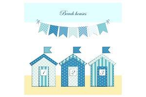 Cute beach huts as retro fabric applique