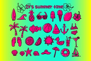 summer time doodle icons