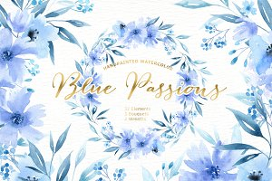 Blue Passions Watercolor clipart