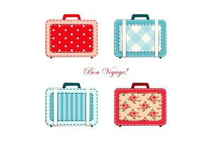 Retro suitcases as fabric applique in shabby chic style