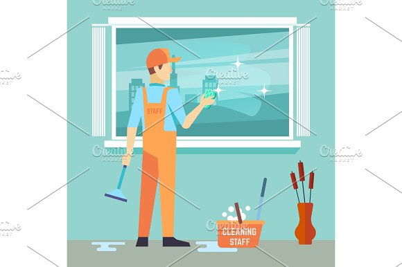 Flat Man Washes Window Cleaning Man Vector Character