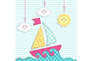 Cute retro card with ship, sea, clouds and sun as fabric applique