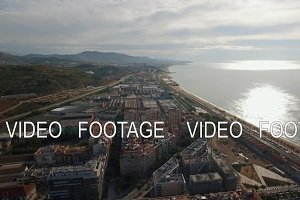 Aerial view of landmarks with beach, sea, buildings, Barcelona, Spain
