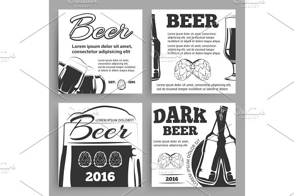 Vintage Beer Banners Template With Bottles Goblets