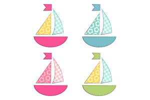 Set of four ships as retro fabric applique as baby shower elements