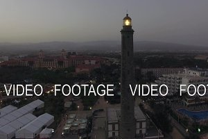 Aerial scene of Maspalomas tourist town and lighthouse