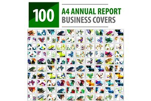 Mega collection of 100 business annual report brochure templates, A4 size covers