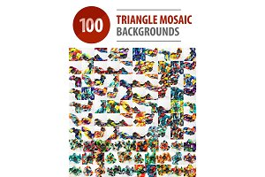 Mega collection of 100 polygonal triangle mosaic abstract backgrounds