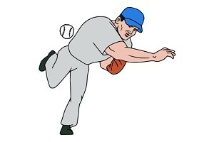Baseball Player Pitcher Throw Ball