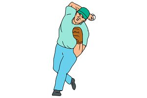 Baseball Player Pitcher Throwing