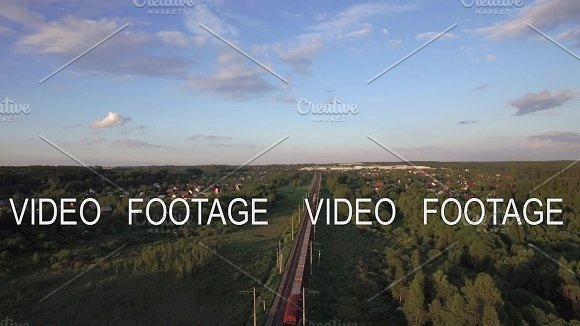 Aerial View Of Freight Train Running In The Countryside Russia
