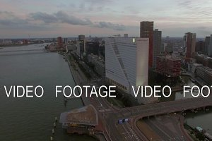 Aerial view of urban architecture and river in Rotterdam