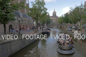 Traveling in Amsterdam by boat