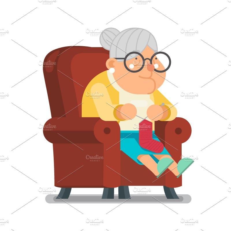 Grandma Knitting Cartoon : Granny old lady illustrations creative market