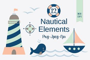 Nautical Clip Art Set, PNG JPEG EPS