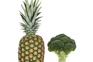 Green pineapple and broccoli