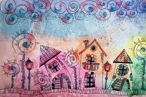 Colorful Watercolor painting of fantasy Fairytale town. Hand dra