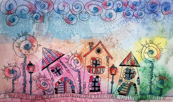 Colorful Watercolor Painting Of Fantasy Fairytale Town Hand Dra