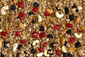 Texture Granola with dried cherries and nuts. Food background an