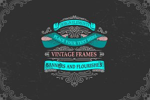 SET of vintage frames and badges