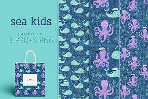 Sea kids cute pattern set