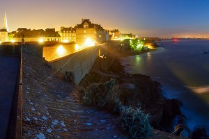 Saint-Malo town night view, France