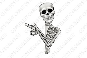 Pointing Cartoon Skeleton
