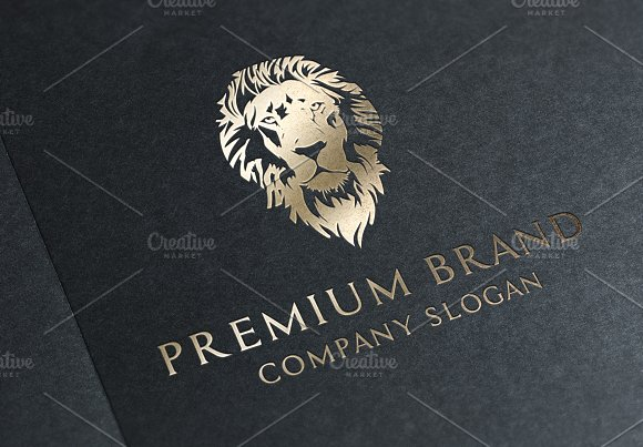Premium Lion Logo Mock-Up Vector