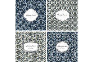 Vintage seamless patterns with frame set