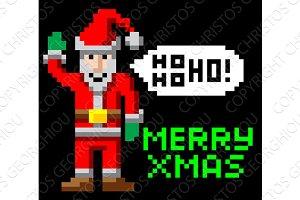 Retro pixel art Christmas Santa
