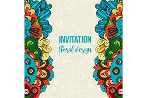 Universal invitation floral doodle ornament card