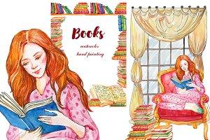 Books clipart Watercolor