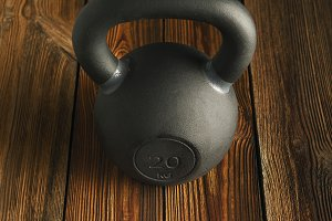 Top view of black iron kettlebell