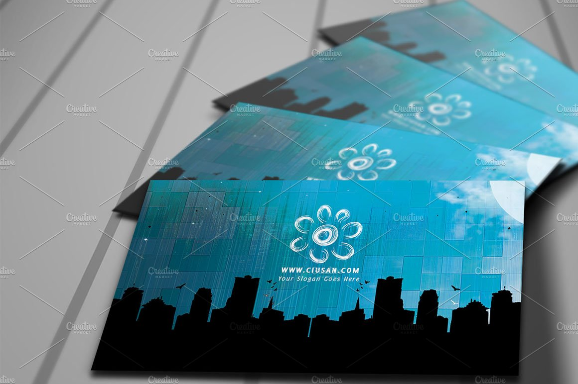 Creative blue business card business card templates creative market colourmoves Gallery
