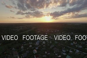 Skyline sunset and village in Russia, aerial view